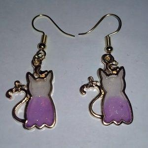 Jewelry - KITTY CAT EARRINGS - Cute Kitten Gold Jewelry